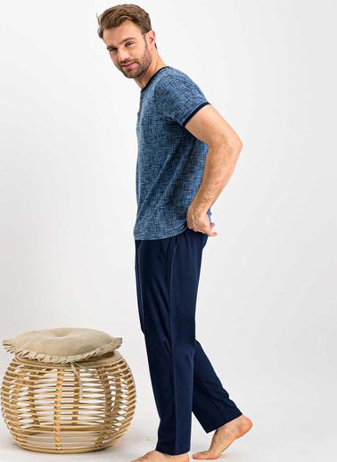 Arnetta  Positive Bordomelanj Erkek Pijama Takımı Mavi